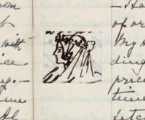 Queen Victoria's drawing of how her wedding veil was worn.